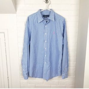 US Polo ASSN Pony Short Sleeves Gingham Plaid Holiday Classic Dress Shirt 2XLT